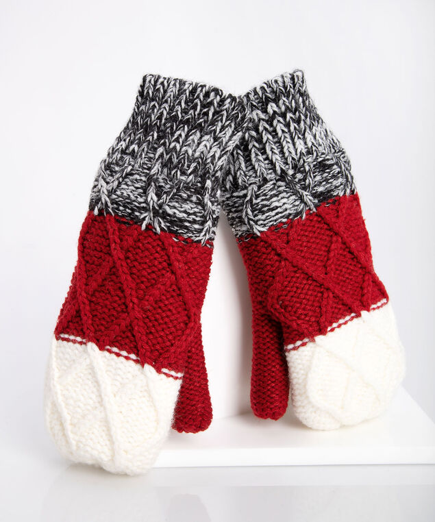 Chunky Knit Colour Block Mittens, Crimson/Mid Heathered Grey/Pearl, hi-res