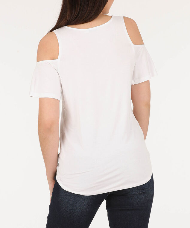Cold Shoulder V-Neck Top, Pearl/Pink/Aqua, hi-res