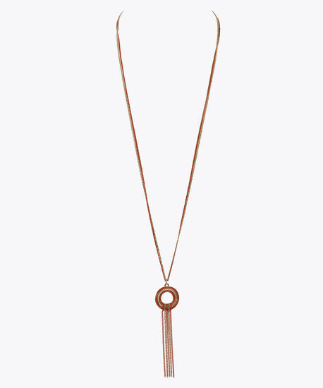 Painted Chain & Tassel Pendant Necklace, Gold/Coral, hi-res