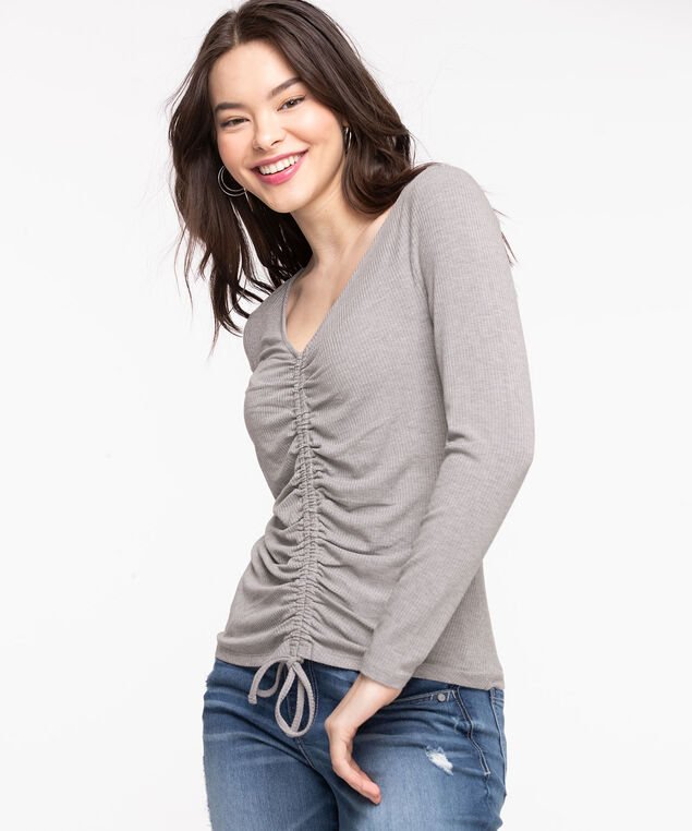 Ruched Front V-Neck Top, Light Heather Grey