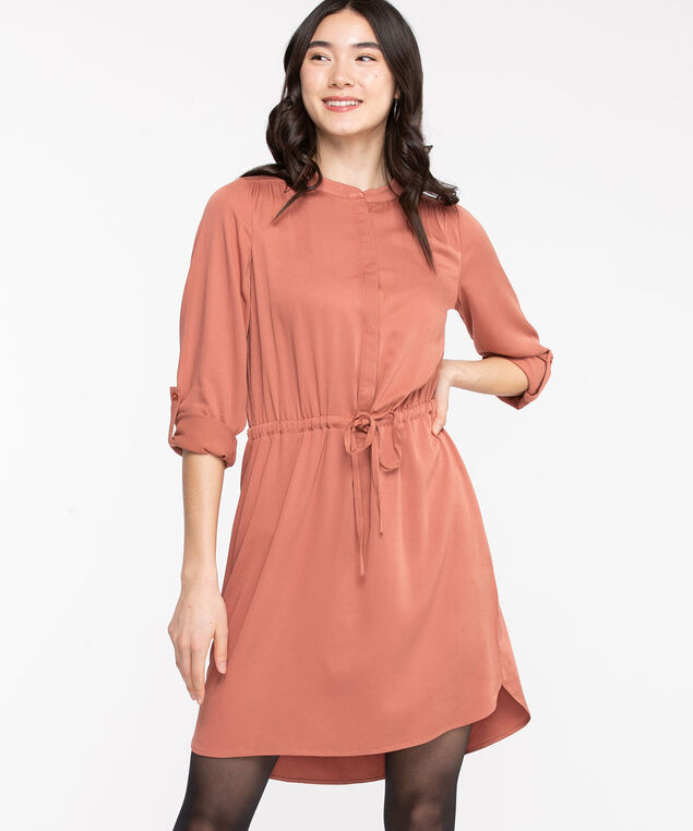 Roll Tab Sleeve Shirt Dress, Arabesque