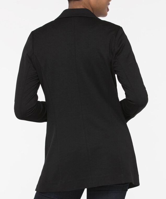 Long Sleeve Ponte Open Blazer, Black, hi-res