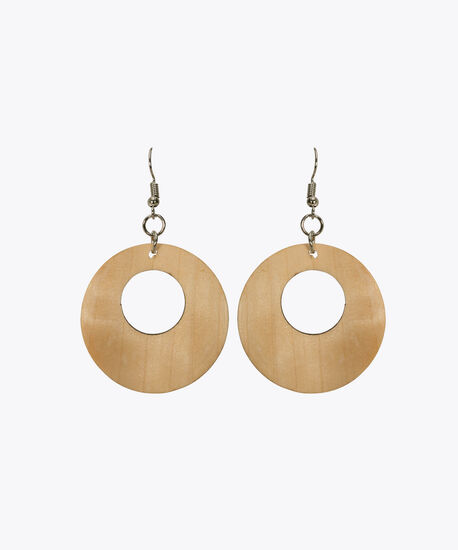 Wood Hoop Earring, Soft Yellow, hi-res