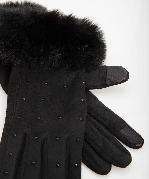 Faux Fur Texting Glove, Black, hi-res
