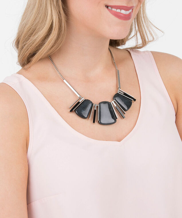 Natural Stone Statement Necklace, Black/Rhodium, hi-res