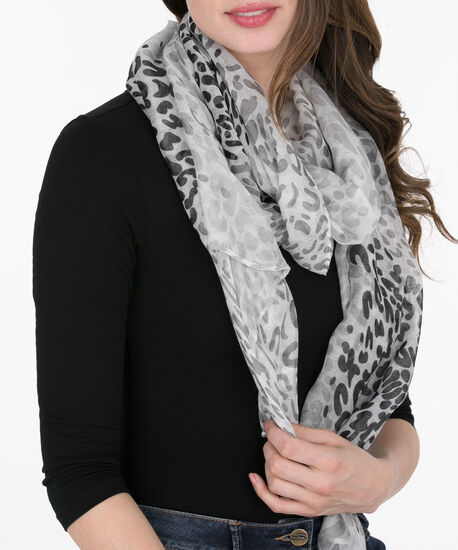 Ombre Leopard Print Oblong Scarf, Black/Light Grey, hi-res