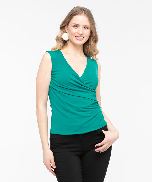 Sleeveless Wrap Front Top, Jade, hi-res