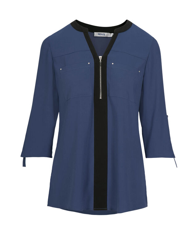Roll Sleeve Zip Front Blouse, Cloudy Blue/Black, hi-res