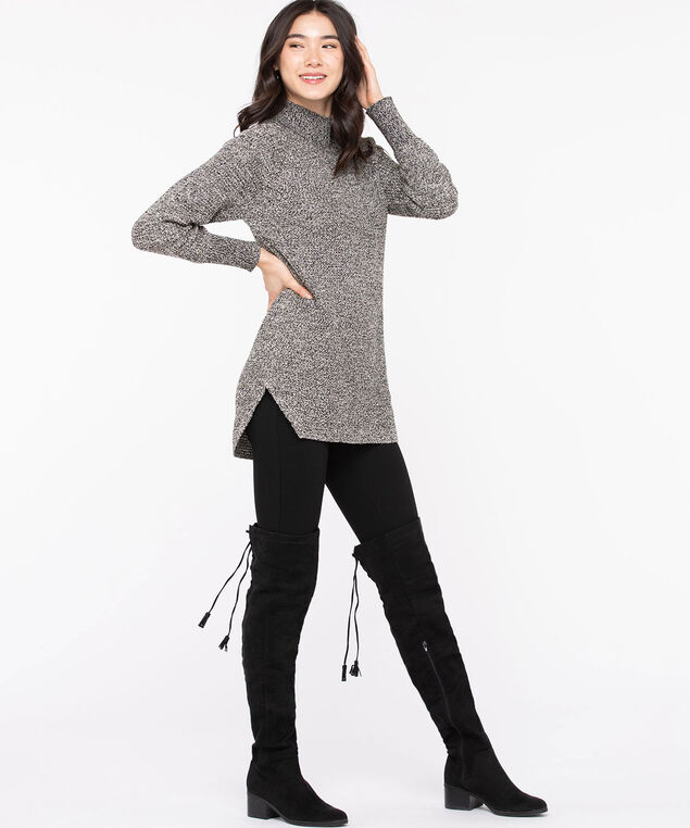 Mock Neck Tunic Sweater, Black Mix, hi-res