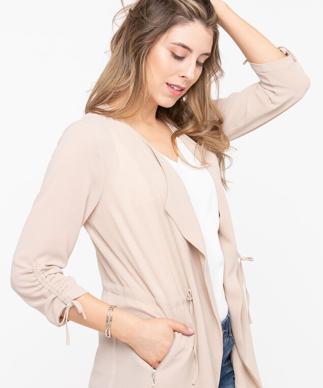 Drape Front Longline Cover Up, Taupe, hi-res