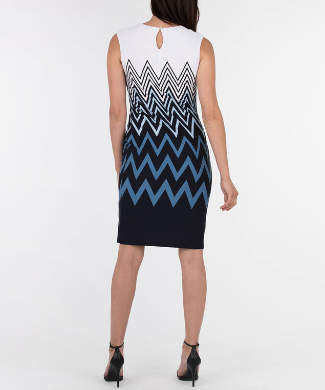 Sleeveless Pleat Neck Dress, White/Black/Blue, hi-res