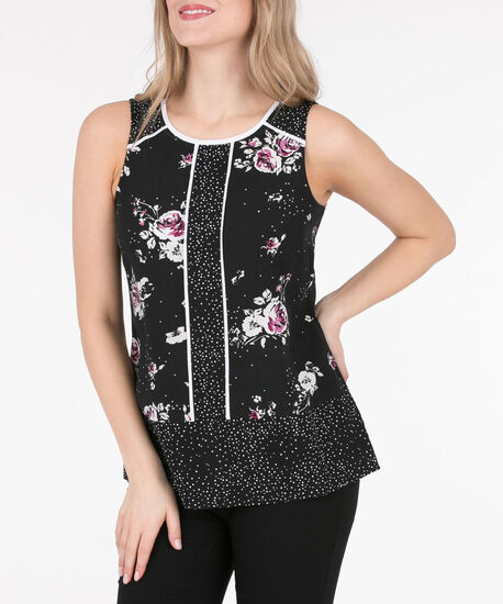 Sleeveless Tipped Twin-Print Blouse, Black/Pearl/Black Cherry, hi-res