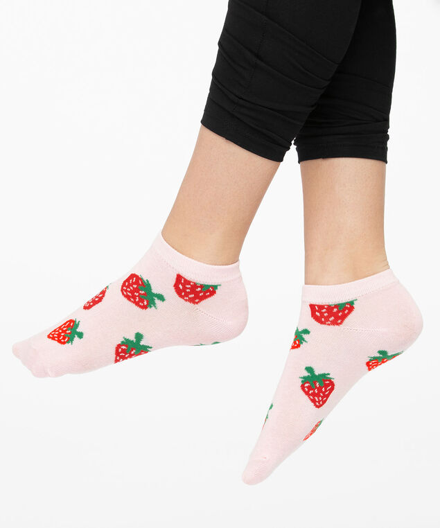 Strawberry Ankle Socks, Rose Petal/Red/Green, hi-res