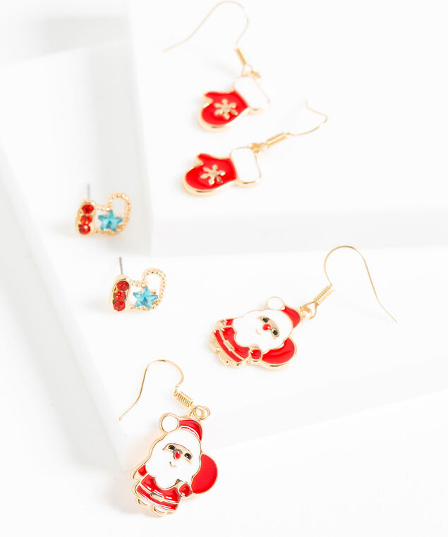 Festive Trio Earring Set, Red/White/Gold, hi-res