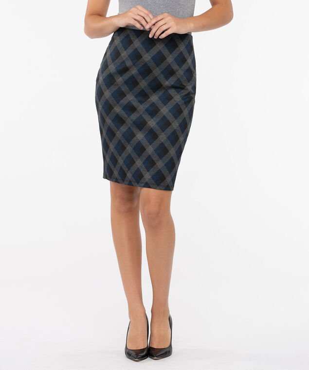 Diamond Plaid Ponte Pencil Skirt, Deep Sapphire/Black/Charcoal, hi-res
