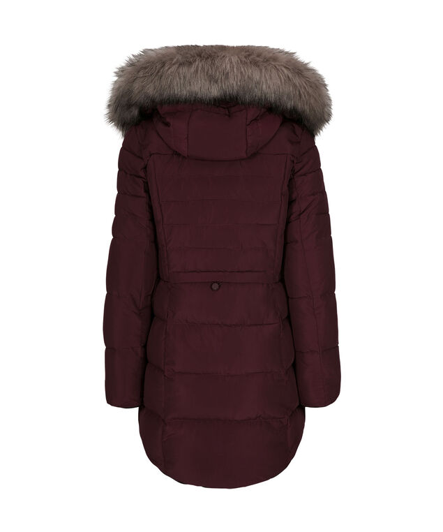 Hooded Shirttail Puffer Jacket, Wine, hi-res