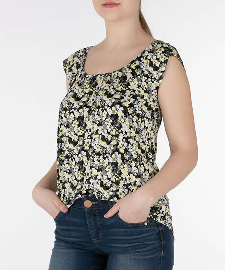 Ruched Scoop Neck Top, Yellow/Black/Grey/White, hi-res