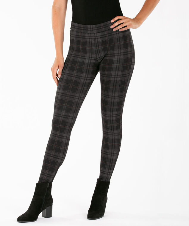Ponte Legging, Charcoal/Ruby/Black Plaid, hi-res