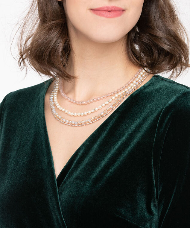 Faceted Stone & Pearl Statement Necklace, Pearl/Rhodium/Dusty Pink, hi-res