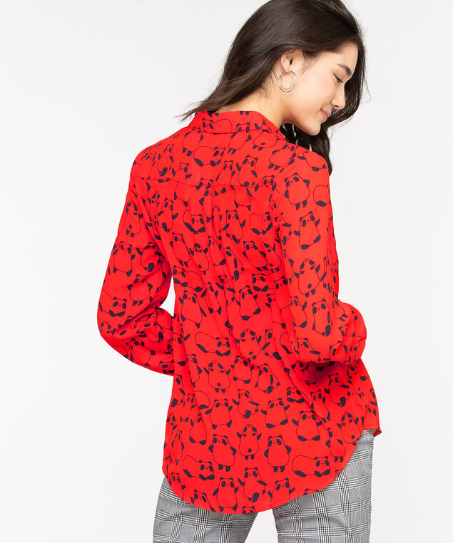 Printed Button Front Collared Blouse, Red Pandas