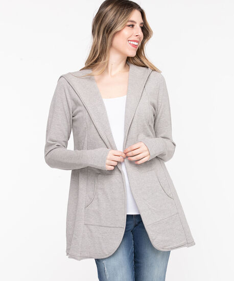 French Terry Hooded Cover-Up, Light Grey Mix, hi-res