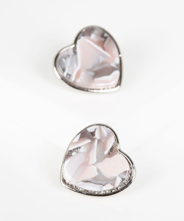Pastel Resin Heart Earring, Grey/Rose Petal/Rhodium, hi-res
