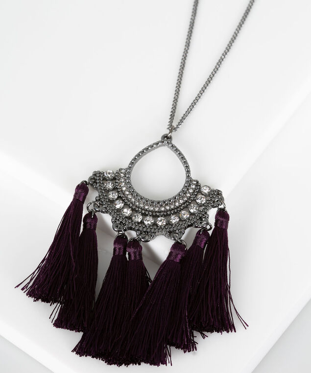 Crystal & Tassel Pendant Necklace, Hematite/Berry, hi-res
