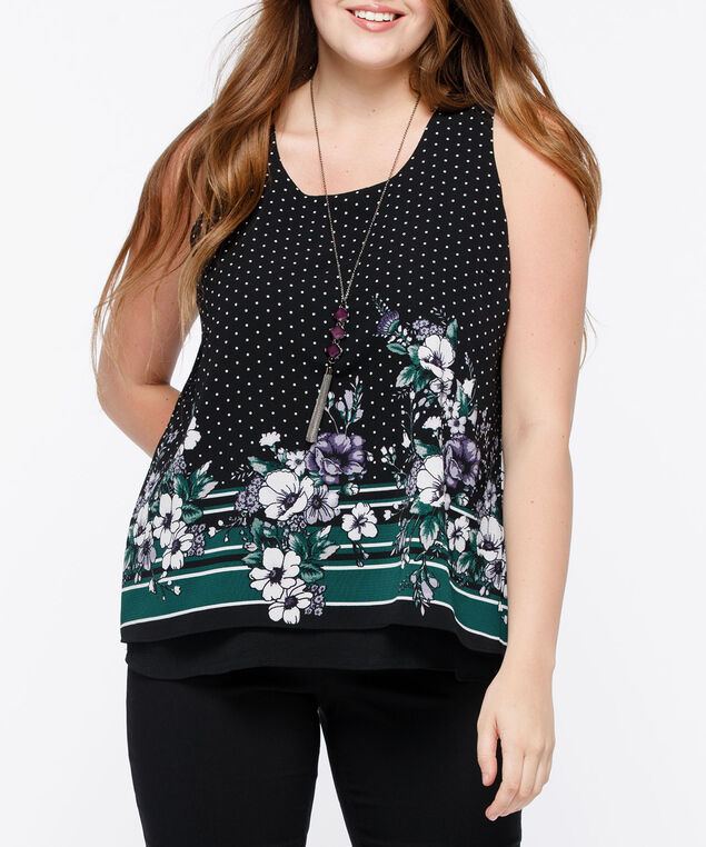 Sleeveless Layered Flyaway Blouse, Black/Ivy/Mauve/Pearl, hi-res