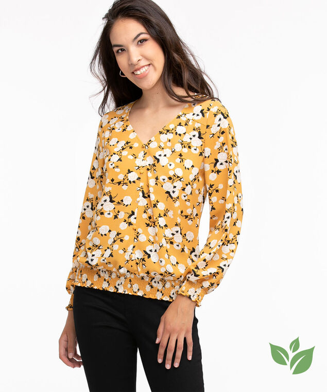 Eco-Friendly Smocked Button Front Blouse, Honey Gold Floral