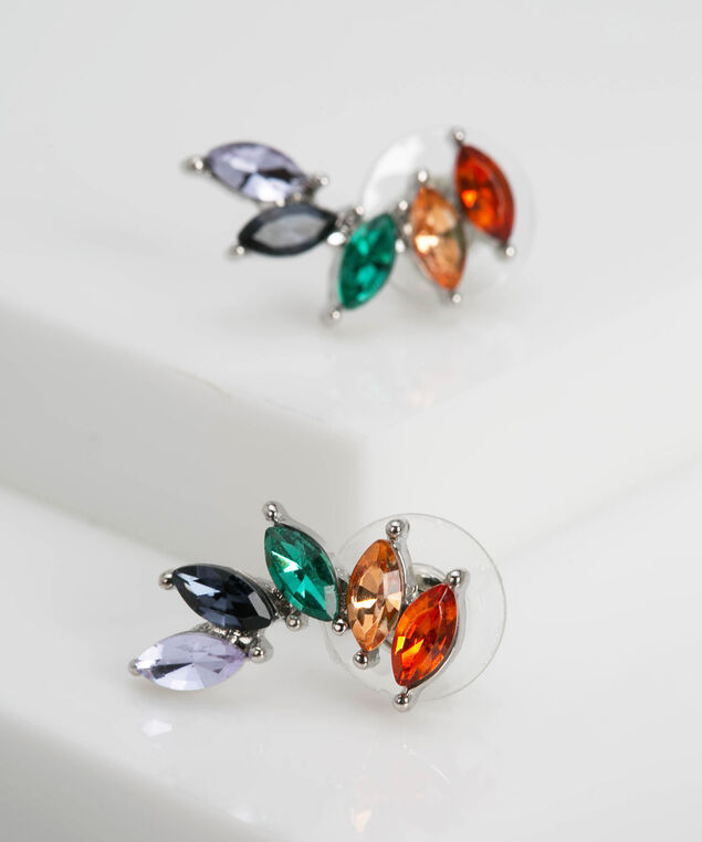 Rainbow Ear Crawler Earring, Crimson/Ivy/Steel Blue, hi-res