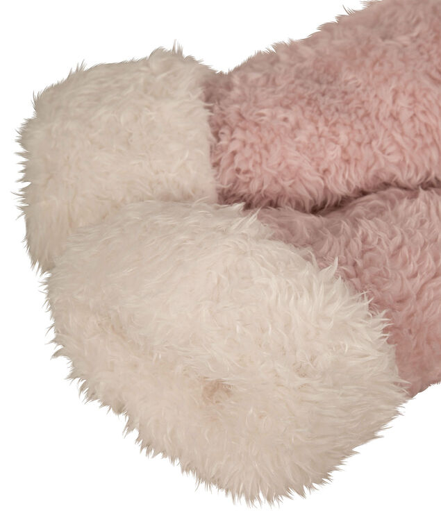 Teddy Fleece Reading Socks, Pale Pink, hi-res