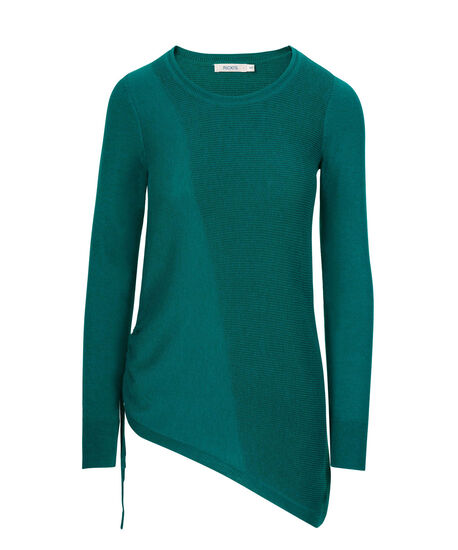 Asymmetrical Pullover Sweater, Teal, hi-res