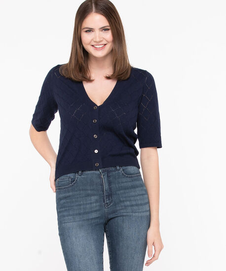 Pointelle Button Front Cardigan, Summer Navy, hi-res