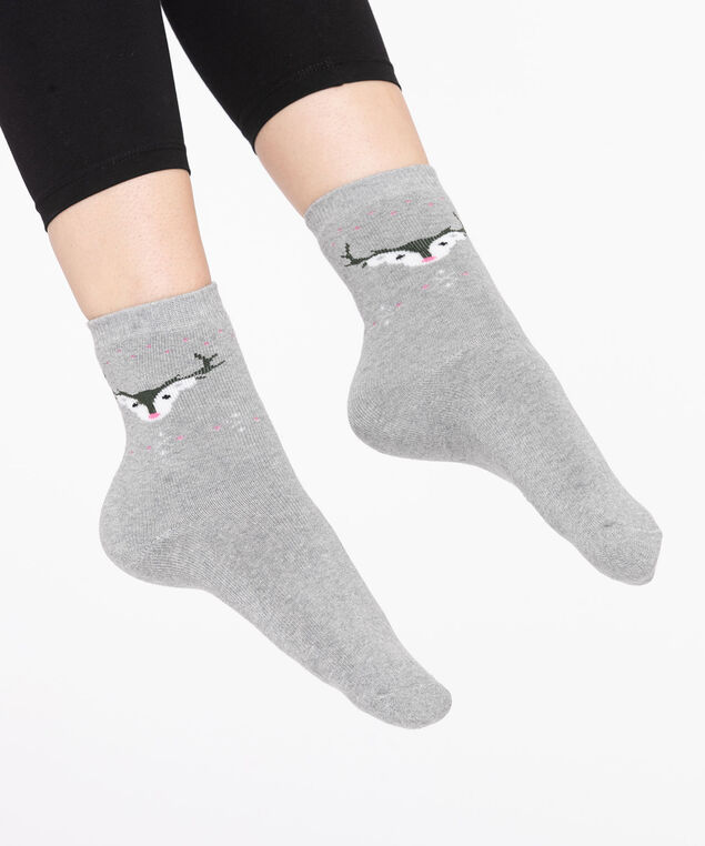 Grey Festive Reindeer Socks, Grey/Pearl/Pink/Black