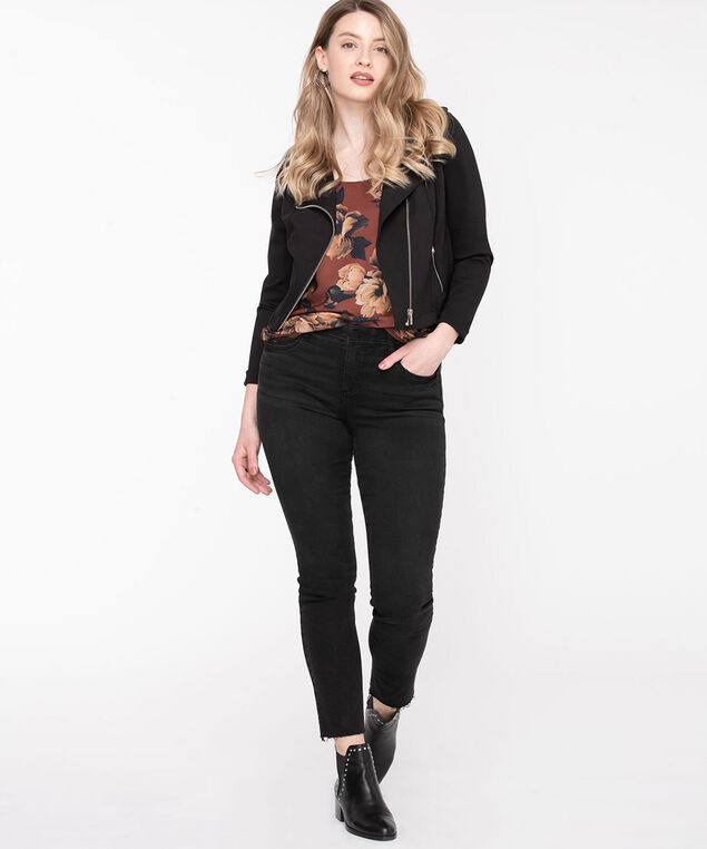 Floral Sleeveless Mixed Media Top, Brown/Black/Camel