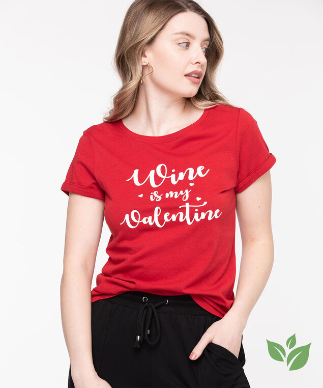 Eco-Friendly Crew Neck Graphic Tee, Poppy Red