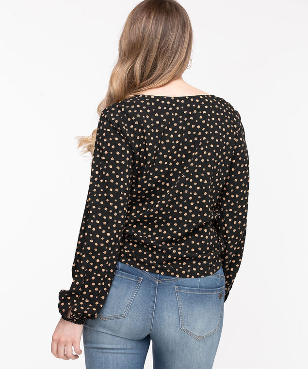 Tie-Front Long Sleeve Blouse, Black/Nomad