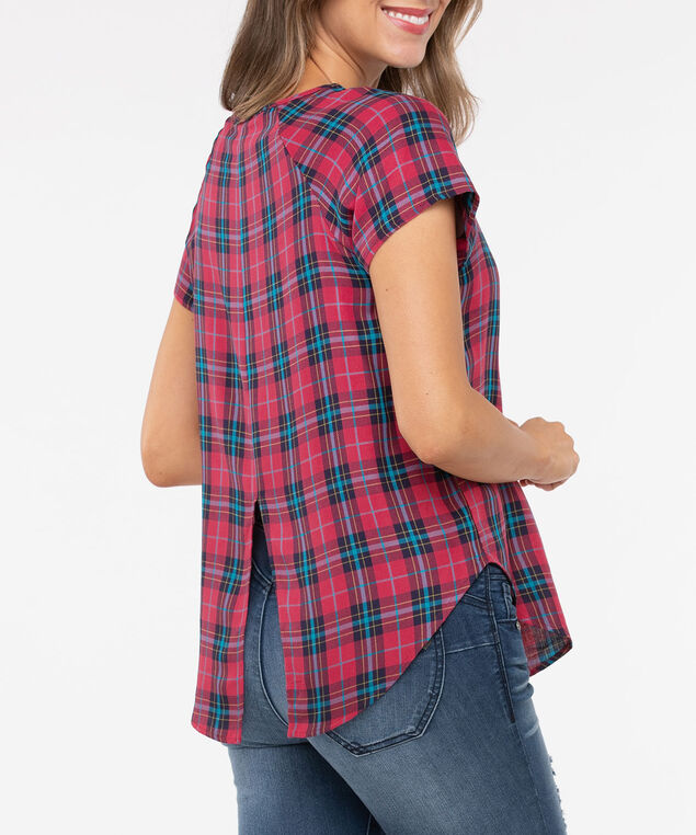 Short Sleeve Scoop Neck Plaid Blouse, Crimson/Steel Blue/Marigold, hi-res