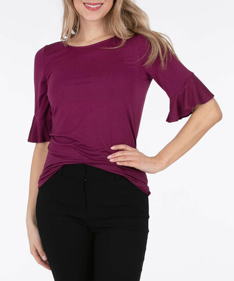 Flounce Sleeve Tab-Back Top, Black Cherry, hi-res