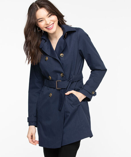 Belted Double Breasted Trench Coat, Navy, hi-res