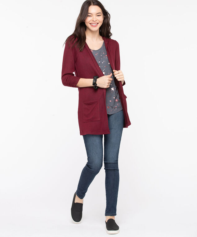Hooded Tunic Length Open Cardigan, Windsor Wine, hi-res