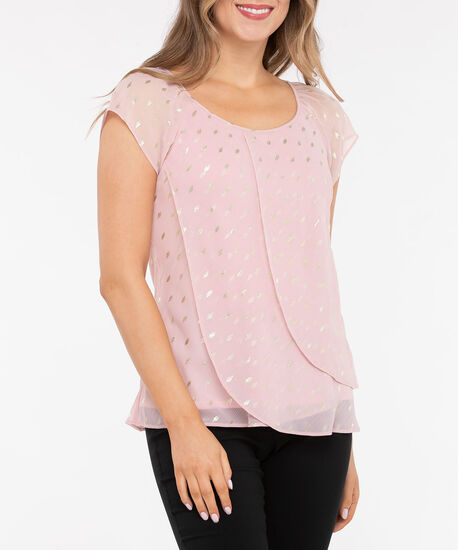 Short Sleeve Tulip Hem Blouse, Dusty Blush/Silver, hi-res