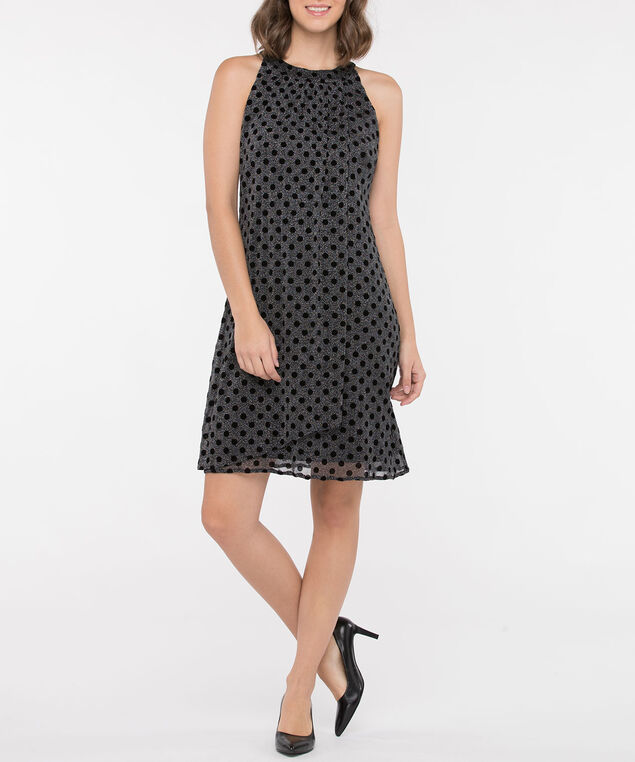 Polka Dot Halter Neck Trapeze Dress, Black/Silver Sparkle, hi-res