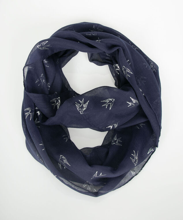 Sparrow Print Eternity Scarf, Deep Sapphire/Silver, hi-res