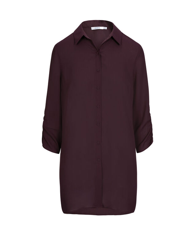 Ruched Sleeve Collared Tunic, Deep Purple, hi-res