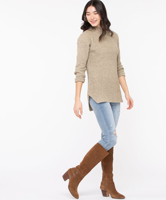 Mock Neck Tunic Sweater, Almond Mix