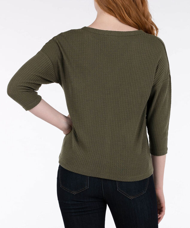 Tie Front 3/4 Sleeve Top, Autumn Olive, hi-res