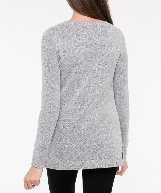 Fuzzy Fox Pullover Sweater, Light Heather Grey/Charcoal/Pearl, hi-res