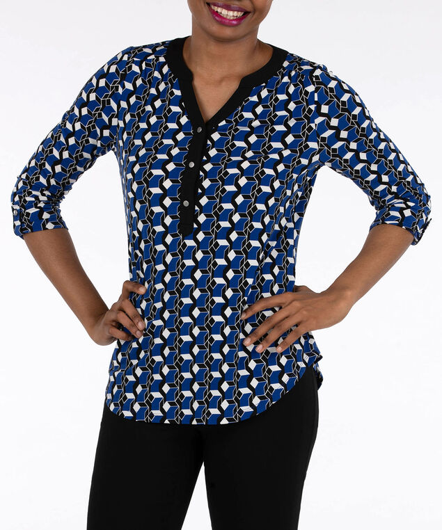 3/4 Sleeve Silver Button Top, Deep Sapphire/Black/Pearl, hi-res