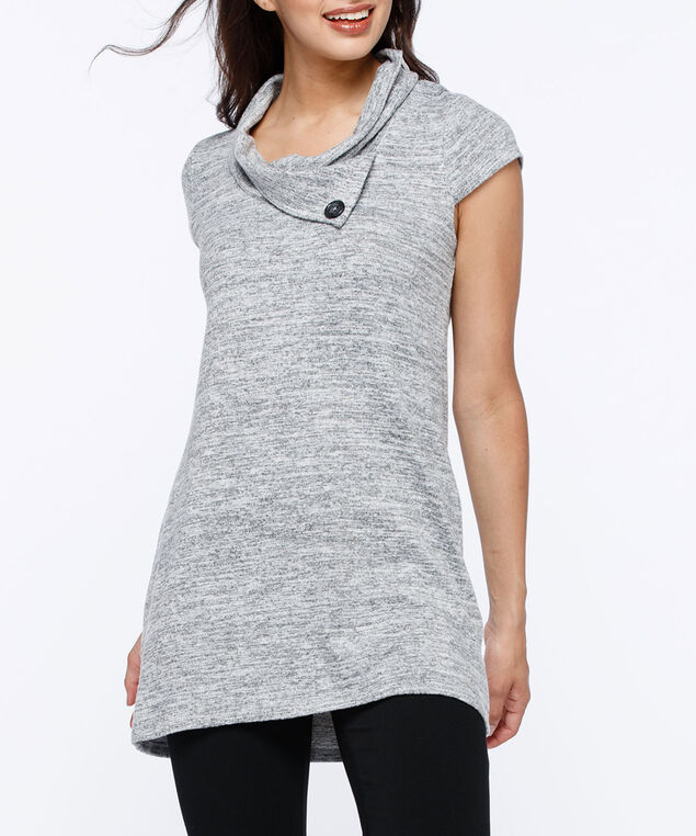 Cap Sleeve Split Neck Tunic, Grey Mix, hi-res